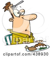 Royalty Free RF Clip Art Illustration Of A Cartoon Clumsy Man With A Fork In His Forehead by toonaday
