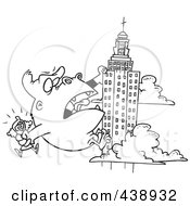 Royalty Free RF Clip Art Illustration Of A Cartoon Black And White Outline Design Of Kong Carrying A Woman And Climbing A Skyscraper