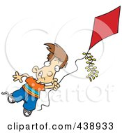 Royalty Free RF Clip Art Illustration Of A Cartoon Boy Flying A Kite 1