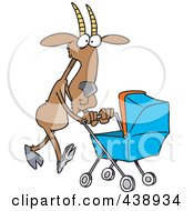 Royalty Free RF Clip Art Illustration Of A Cartoon Nanny Goat Pushing A Tram by toonaday
