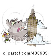 Royalty Free RF Clip Art Illustration Of A Cartoon Kong Carrying A Woman And Climbing A Skyscraper