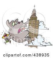 Cartoon Kong Carrying A Woman And Climbing A Skyscraper