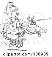Cartoon Black And White Outline Design Of A Jousting Knight On A Horse