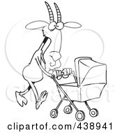 Royalty Free RF Clip Art Illustration Of A Cartoon Black And White Outline Design Of A Nanny Goat Pushing A Tram by toonaday