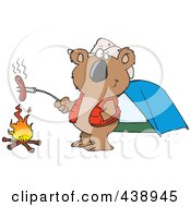 Royalty Free RF Clip Art Illustration Of A Cartoon Camping Koala Roasting A Hot Dog Over A Fire by toonaday