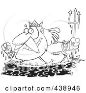 Royalty Free RF Clip Art Illustration Of A Cartoon Black And White Outline Design Of King Neptune Surfacing