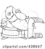 Royalty Free RF Clip Art Illustration Of A Cartoon Black And White Outline Design Of Santa Reading His Naughty List