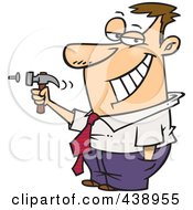 Royalty Free RF Clip Art Illustration Of A Cartoon Man Hammering A Nail by toonaday