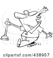 Royalty Free RF Clip Art Illustration Of A Cartoon Black And White Outline Design Of A Man Holding A Nasty Toilet Plunger