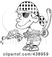 Royalty Free RF Clip Art Illustration Of A Cartoon Black And White Outline Design Of A Pirate Boy Shooting Water Gun