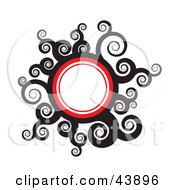 Clipart Illustration Of A Red White And Black Circle With Swirls And Blank Space by Arena Creative