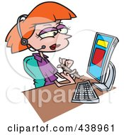 Royalty Free RF Clip Art Illustration Of A Cartoon Secretary Filing Her Nails At Her Desk