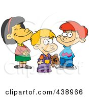 Cartoon Girl And Two Boys
