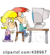Royalty Free RF Clip Art Illustration Of Cartoon School Children Using A Computer