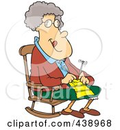 Royalty Free RF Clip Art Illustration Of A Cartoon Granny Knitting In A Rocking Chair by toonaday