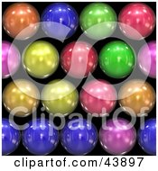 Clipart Illustration Of A Background Of Rainbow Colored Shiny Orbs On Black