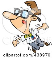 Royalty Free RF Clip Art Illustration Of A Cartoon Nerdy Man Dancing by toonaday