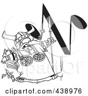 Royalty Free RF Clip Art Illustration Of A Cartoon Black And White Outline Design Of A Singing Viking Bird With An N Music Note by toonaday