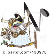 Royalty Free RF Clip Art Illustration Of A Cartoon Singing Viking Bird With An N Music Note