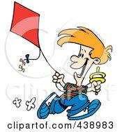 Royalty Free RF Clip Art Illustration Of A Cartoon Boy Flying A Kite 3