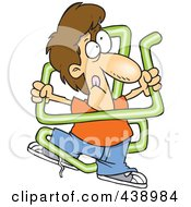 Royalty Free RF Clip Art Illustration Of A Cartoon Boy Tangled In Neon Tubing