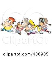Cartoon Boy Chasing His Friends On His Trike