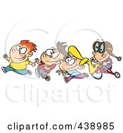 Royalty Free RF Clip Art Illustration Of A Cartoon Boy Chasing His Friends On His Trike by toonaday