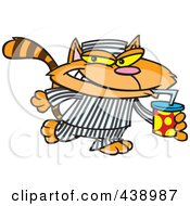 Royalty Free RF Clip Art Illustration Of A Cartoon Cat Con Drinking A Soda by toonaday