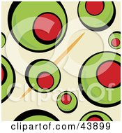 Clipart Illustration Of A Background Of A Toothpick And Green Martini Olives On Beige