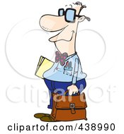 Royalty Free RF Clip Art Illustration Of A Cartoon Nerdy Salesman by toonaday