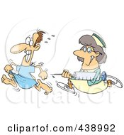 Royalty Free RF Clip Art Illustration Of A Cartoon Nurse Chasing A Patient With A Needle