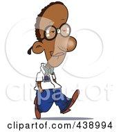 Royalty Free RF Clip Art Illustration Of A Cartoon Nerdy Black Boy Walking