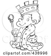 Royalty Free RF Clip Art Illustration Of A Cartoon Black And White Outline Design Of A King Boy by toonaday