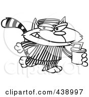 Royalty Free RF Clip Art Illustration Of A Cartoon Black And White Outline Design Of A Cat Con Drinking A Soda by toonaday
