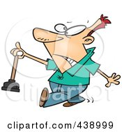 Royalty Free RF Clip Art Illustration Of A Cartoon Man Holding A Nasty Toilet Plunger