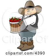 Cowboy Farmer Carrying A Bucket Of Freshly Picked Red Apples Clipart