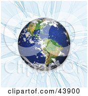 Clipart Illustration Of Earth Crashing Through Ice Or Glass by Arena Creative
