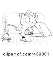 Royalty Free RF Clip Art Illustration Of A Cartoon Black And White Outline Design Of A Camping Koala Roasting A Hot Dog Over A Fire