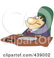 Royalty Free RF Clip Art Illustration Of A Cartoon Businessman With A Kneel Sign On His Desk