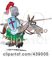 Royalty Free RF Clip Art Illustration Of A Cartoon Jousting Knight On A Horse