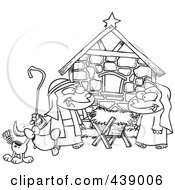Royalty Free RF Clip Art Illustration Of A Cartoon Black And White Outline Design Of Children Acting Out A Nativity Scene