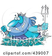 Royalty Free RF Clip Art Illustration Of A Cartoon King Neptune Surfacing by toonaday