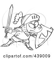 Royalty Free RF Clip Art Illustration Of A Cartoon Black And White Outline Design Of A Knight Boy by toonaday