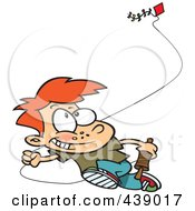 Cartoon Boy Flying A Kite - 2