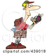 Royalty Free RF Clip Art Illustration Of A Cartoon Hiker Taking Nature Pictures by toonaday