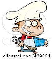 Royalty Free RF Clip Art Illustration Of A Cartoon Happy Chef Boy Holding A Mixing Bowl by Ron Leishman
