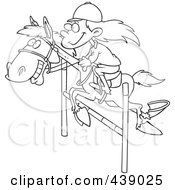 Royalty Free RF Clip Art Illustration Of A Cartoon Black And White Outline Design Of A Girl On A Leaping Horse by toonaday