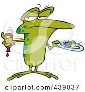 Royalty Free RF Clip Art Illustration Of A Cartoon Frog Putting Ketchup On A Fly by toonaday