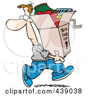 Royalty Free RF Clip Art Illustration Of A Cartoon Man Carrying A Box Of Junk by toonaday