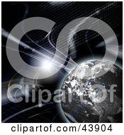 Clipart Illustration Of Binary Code And Bursts Of Light Around Planet Earth by Arena Creative #COLLC43904-0094